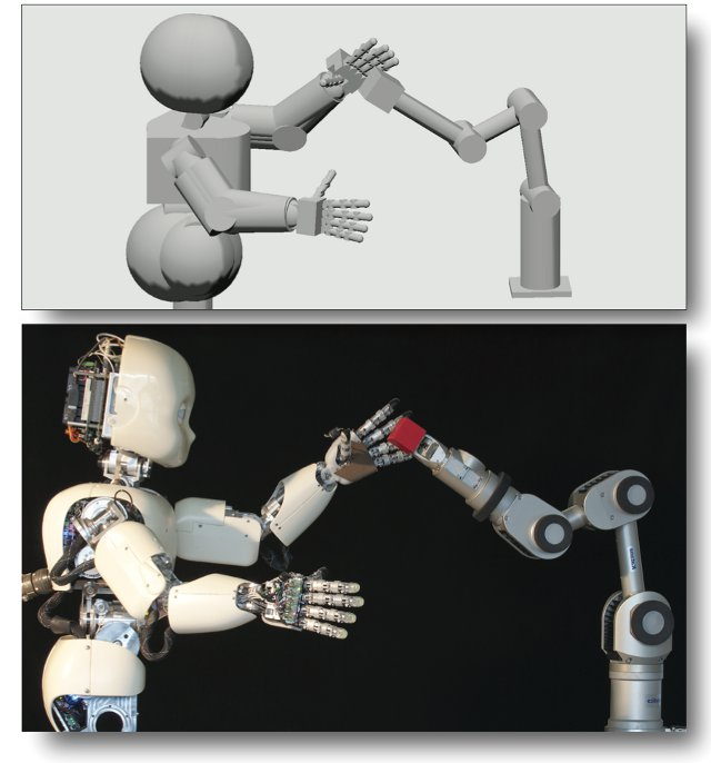 The iCub and the Katana industrial robot arm.