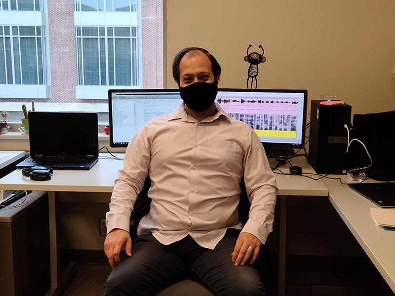 Andrew Exner, a graduate research assistant in Purdue's Motor Speech Lab, is working to help Parkinson's patients during the COVID-19 pandemic.